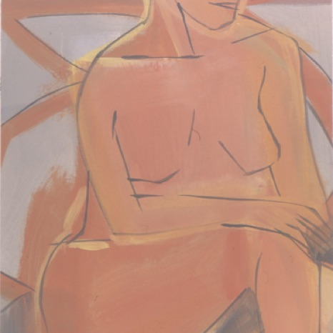 "Seated Figure, 2003, gouache on paper,  30"" x 22"""