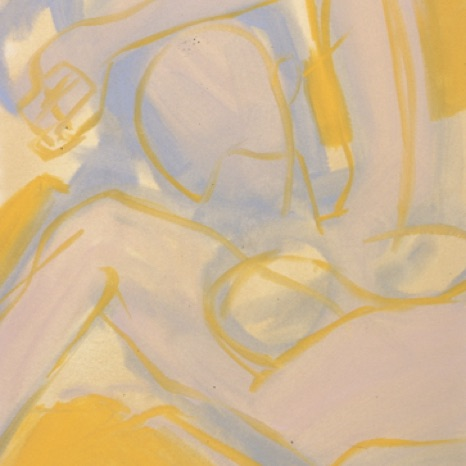 "Yellow Figure, 2000, gouache on paper,  30"" x 22"" SOLD"